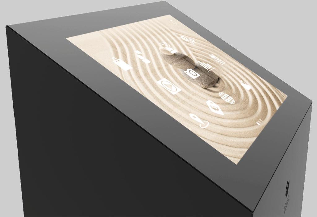 Borne tactile Onyx zoom vue de biais